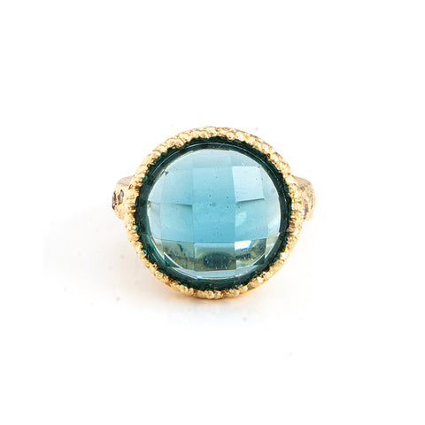 Denim Blue + Cubic Zirconia Accent Cocktail Ring - Closeout