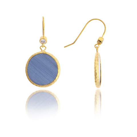 Sliced Navy Cat's Eye + CZ Drop Earrings