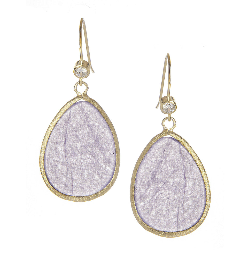 Lavender Quartzite + Cubic Zirconia Teardrop Earrings