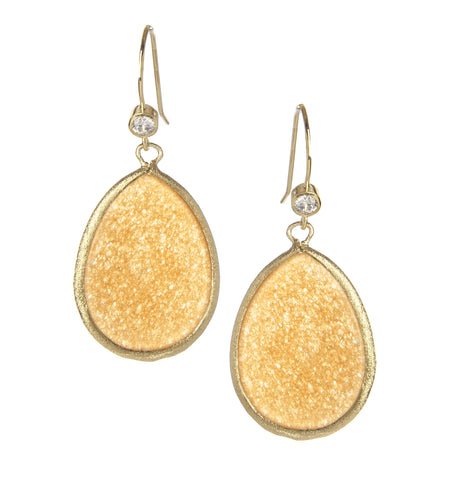 Orange Quartzite Teardrop Earrings
