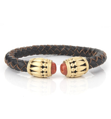 Braided Leather + Coral Bracelet