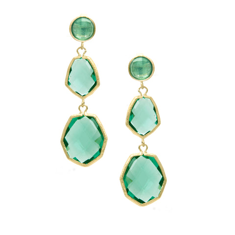 Capri Deco Style Triple Dangle Earrings