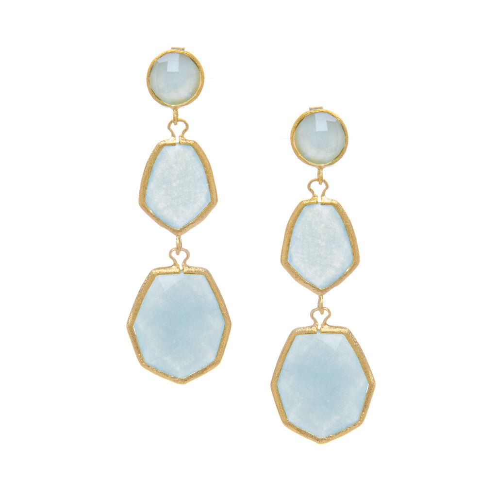 Caribbean Blue Quartzite Deco Style Triple Dangle Earrings