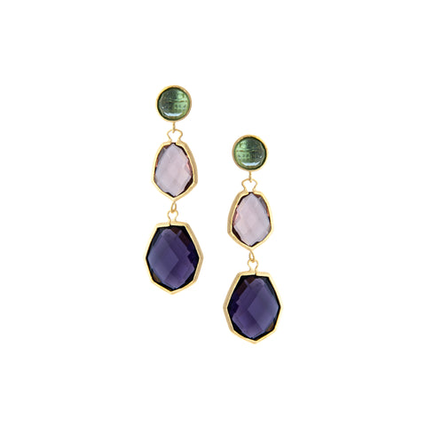 Denim + Raspberry + Amethyst Deco Style Triple Dangle Earrings