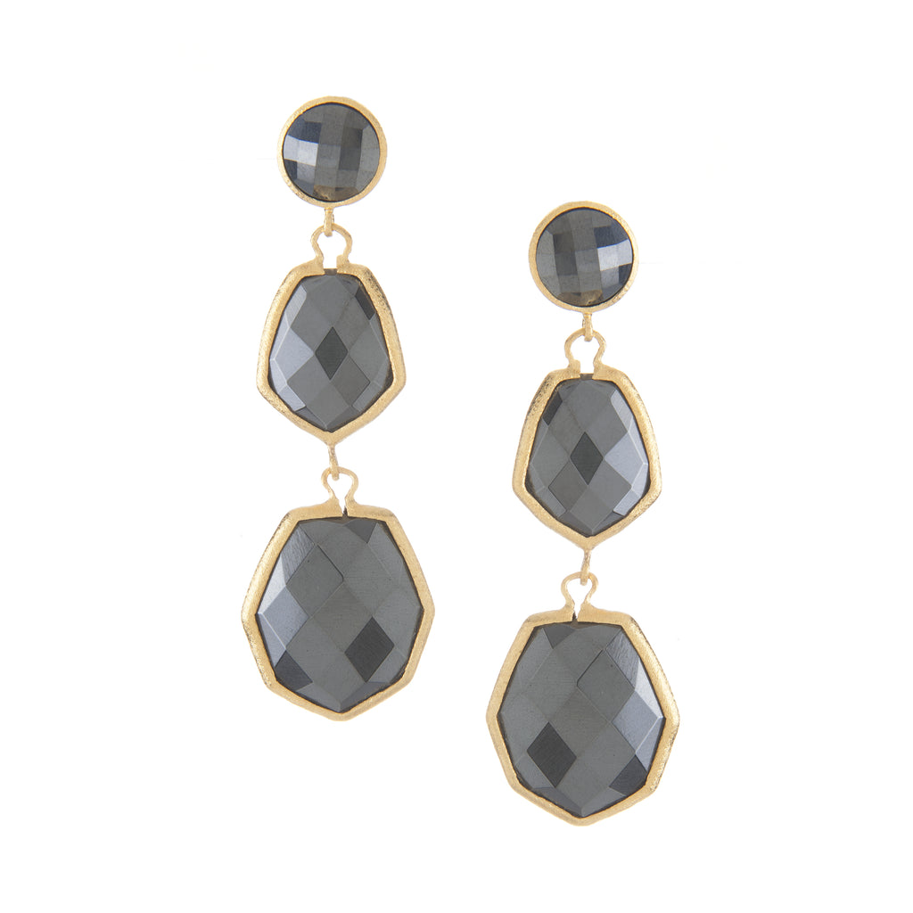 Hematite Deco Style Triple Drop Earrings