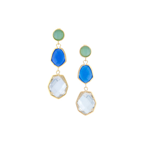 Mint Chalcedony + Blue Chalcedony + Rock Crystal Deco Style Triple Dangle Earrings