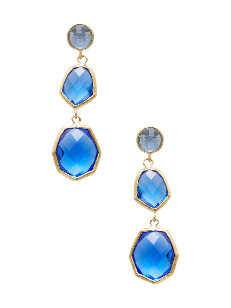 Poppy Deco Style Triple Dangle Earrings - Closeout