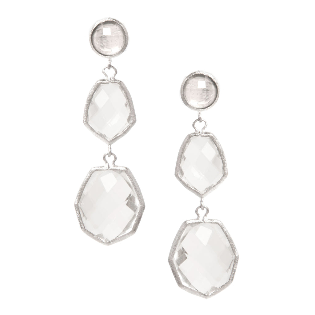 Rhodium Rock Crystal Deco Style Triple Dangle Earrings - Closeout