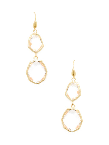 Rock Crystal Double Deco Dangle Earrings