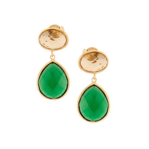Golden Olive + Emerald Teardrop Dangle
