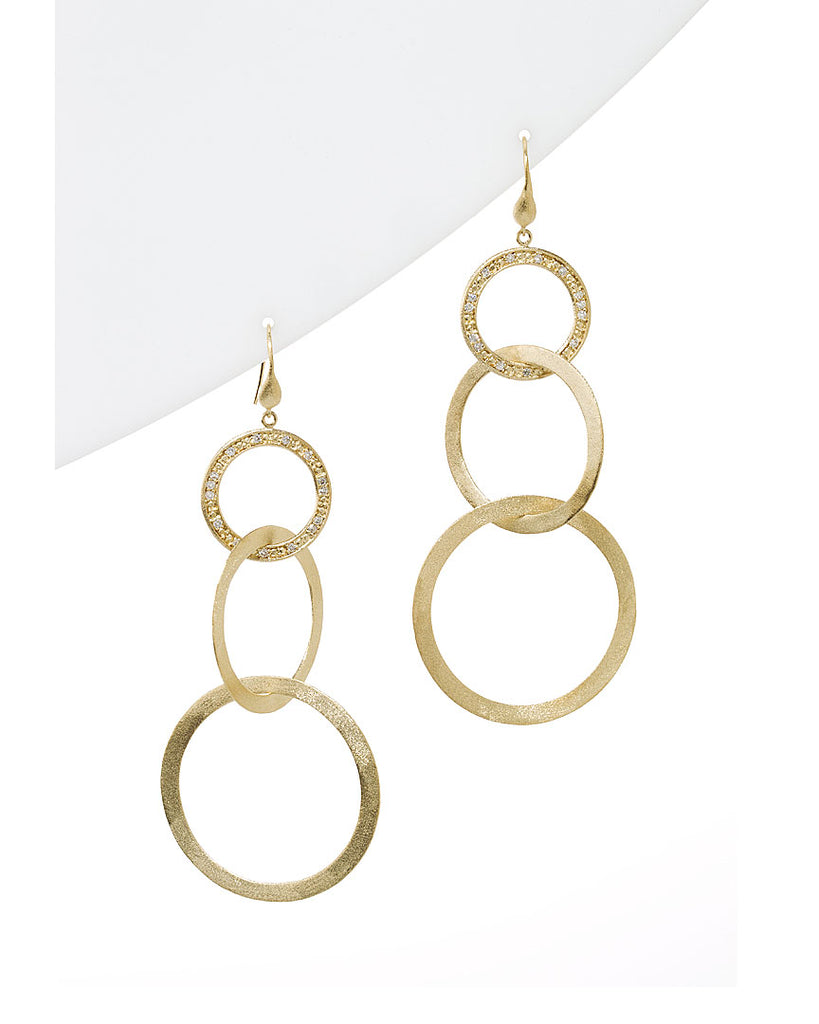 Simulated Diamond Multi Ring Drop Earrings