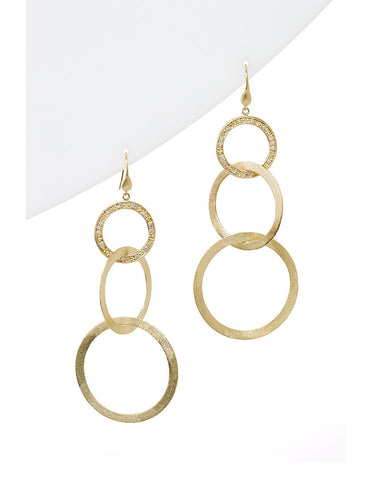 Simulated Diamond Multi Ring Drop Earrings - Closeout