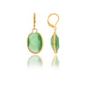 Oval Hammered Cat'e Eye Lime Crystal Leverbacks