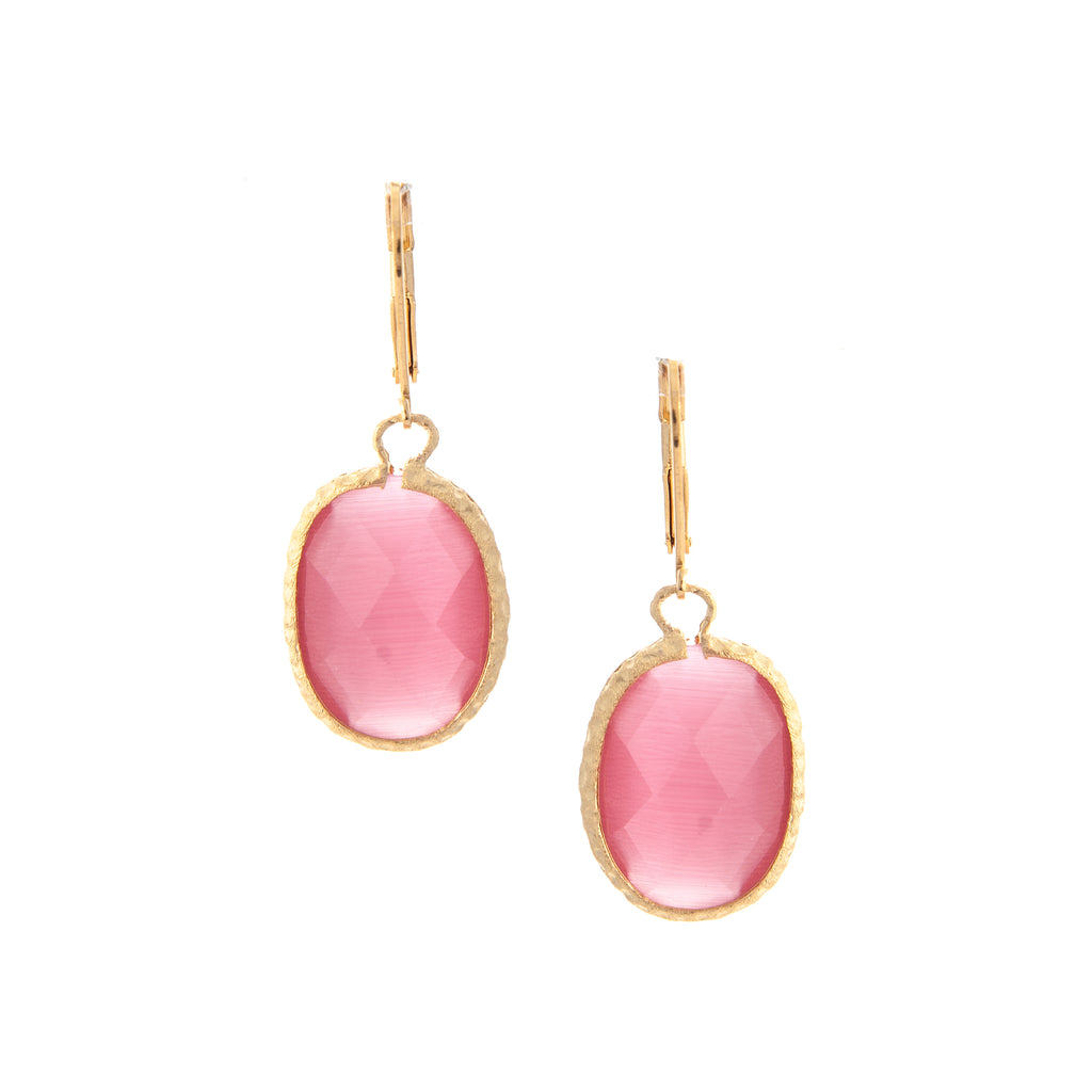 Oval Hammered Cat's Eye Raspberry Leverbacks