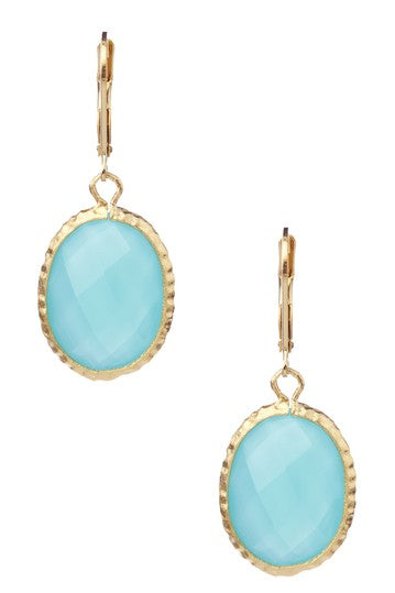 Oval Hammered Mint Chalcedony Leverbacks