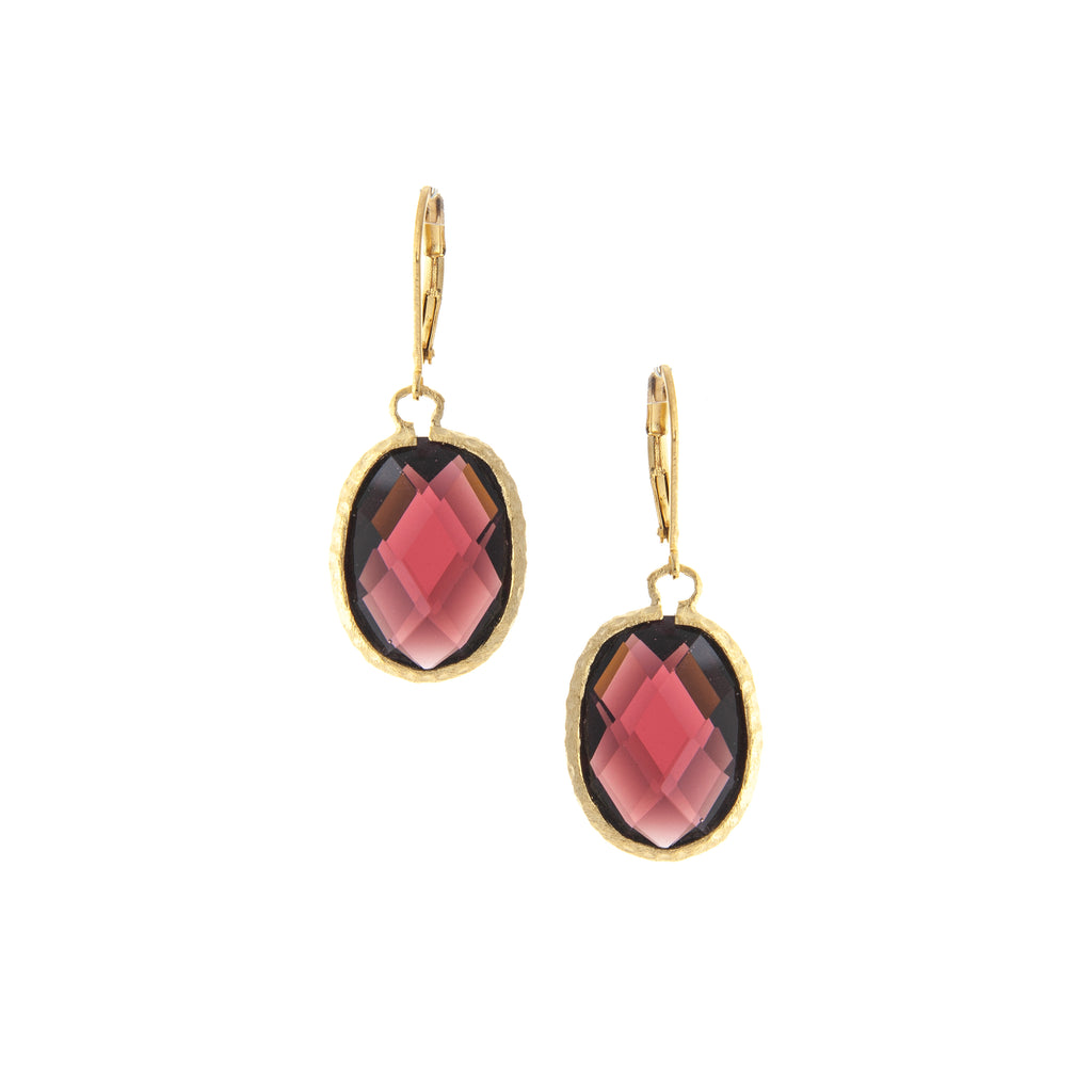 Oval Hammered Tourmaline Crystal Leverbacks
