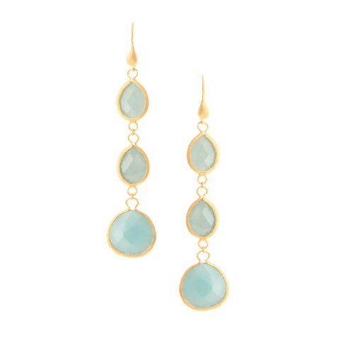 Caribbean Quartzite Triple Drop Earrings