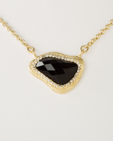 Onyx + Simulated Diamond Pendant Necklace