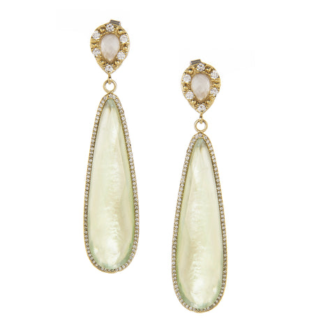 Rock Crystal + Apple Green Mother of Pearl Doublet + Simulated Diamond Dangle Earrings