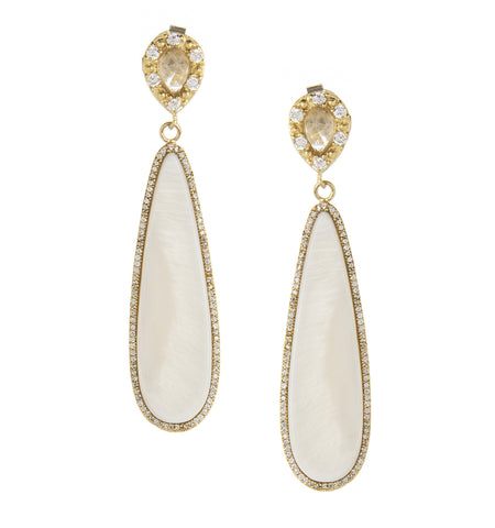 Rock Crystal + Mother of Pearl + Simulated Diamond Dangle Earrings