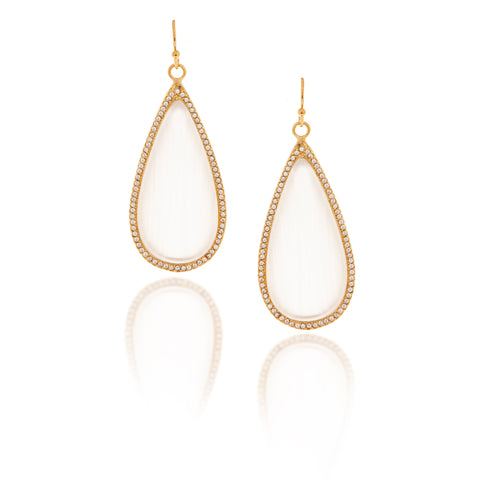 White Cat's Eye + Simulated Diamond Sliced Earrings
