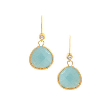 Caribbean Blue Quartzite Teardrop + Simulated Diamond Accent Earrings