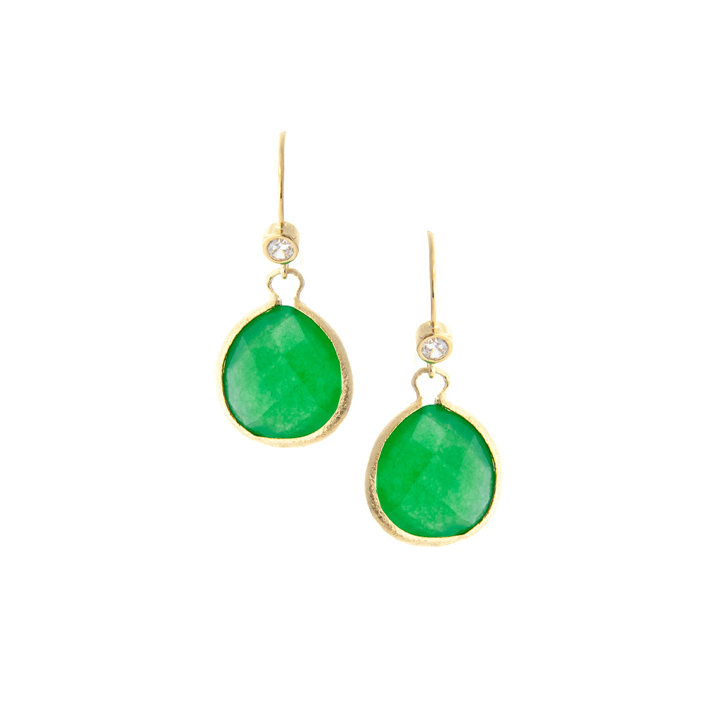Green Quartzite Teardrop + Simulated Diamond Accent Earrings