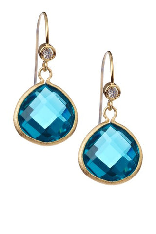 London Blue Teardrop + Simulated Diamond Accent Earrings