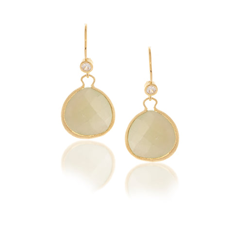 New Jade Teardrop + Simulated Diamond Accent Earrings