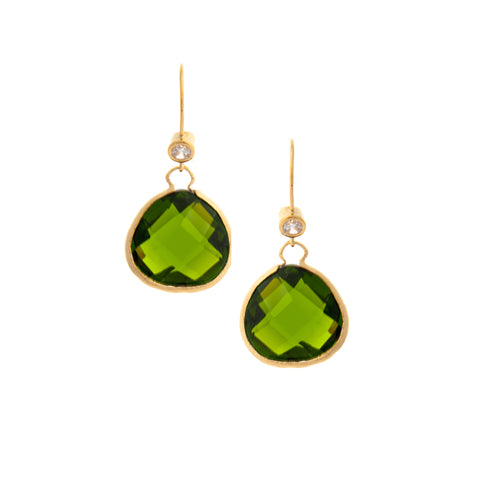 Peridot Teardrop + Simulated Diamond Accent Earrings