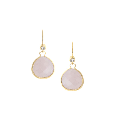Rose Quartz Teardrop + Simulated Diamond Accent Earrings