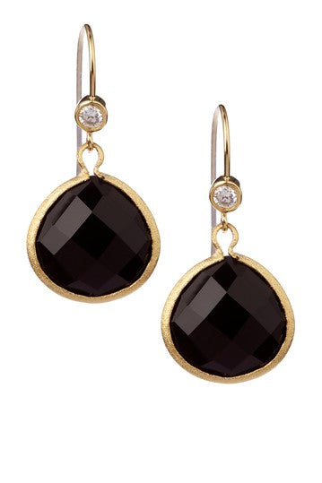 Onyx Teardrop + Cubic Zirconia Accent Earrings
