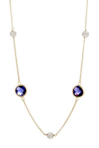 Amethyst + Simulated Diamond Station Necklace