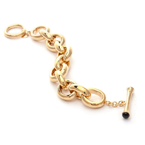 Rolo Polished Link + Black Onyx Toggle Bracelet
