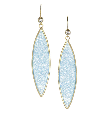 Caribbean Blue Quartzite + Simulated Diamond Marquise Dangle Earrings
