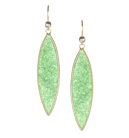 Green Quartzite + Simulated Diamond Marquise Dangle Earrings