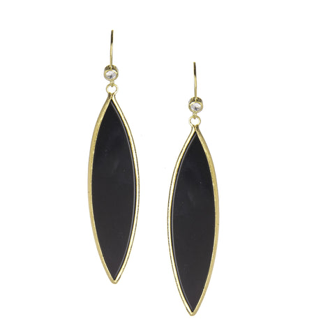 Black Onyx + Simulated Diamond Marquise Dangle Earrings