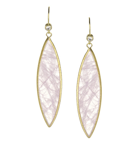Rose Quartz + Simulated Diamond Marquise Dangle Earrings