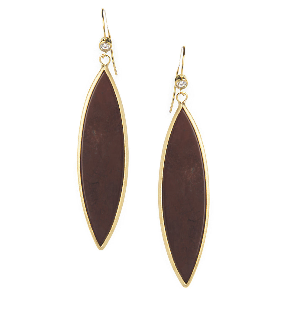 Red Jasper Marquise Sliced + Simulated Diamond Dangle Earrings - Closeout