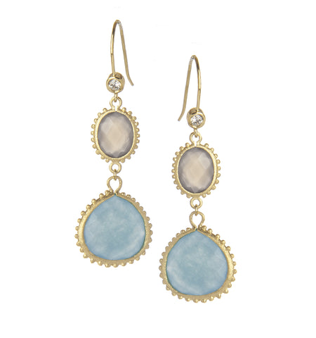 Chalcedony + Quartzite Dangle Earrings