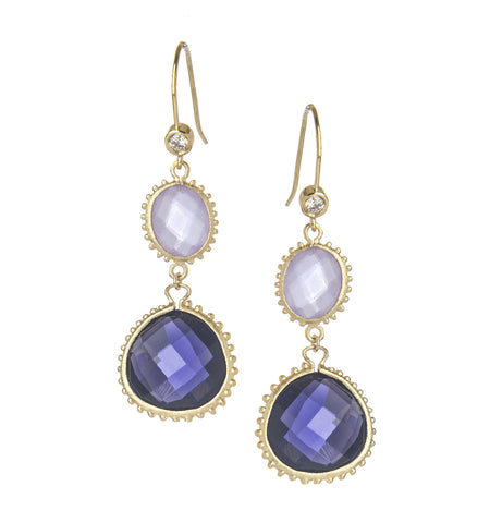 Iolite + Tanzanite + Simulated Diamond Dangle Earrings