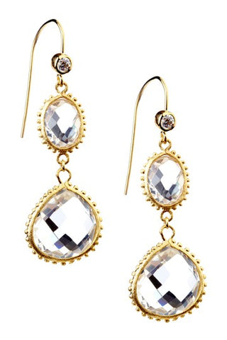 Rock Crystal + Simulated Diamond Dangle Earrings