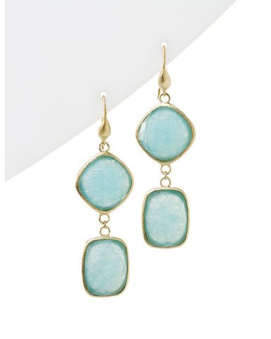 Caribbean Blue Quartzite Double Dangle Earrings
