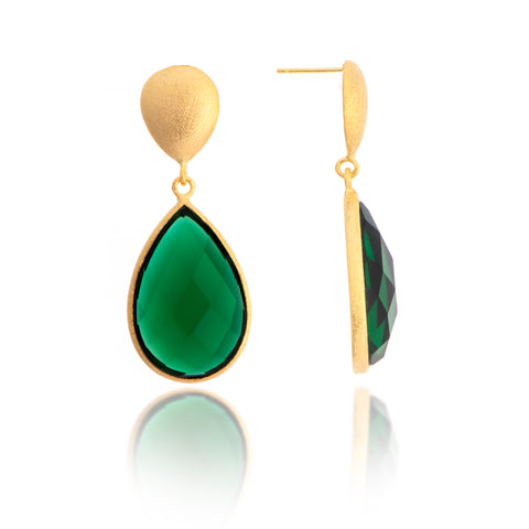 Emerald Teardrop Dangles