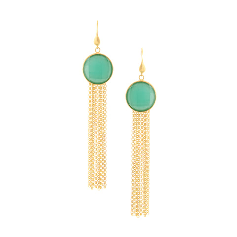 Mint Chalcedony Fringe Dangle Earrings