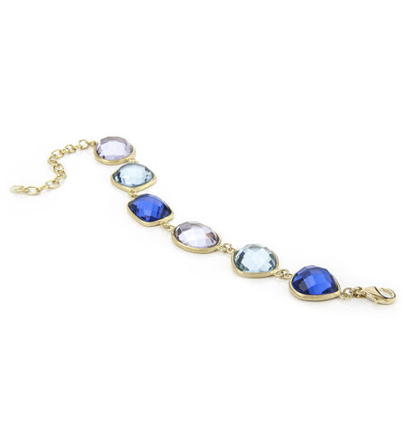 Poppy Blue, Sky Blue + Aquamarine Station Bracelet