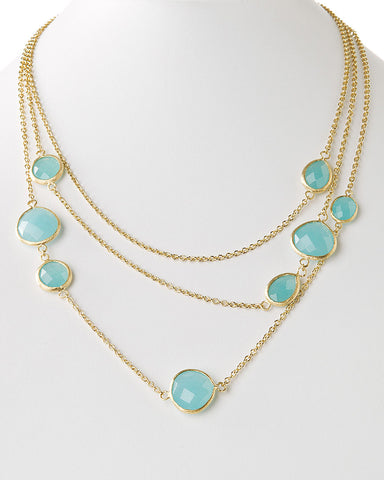 Caribbean Blue Quartzite Multi Layer Station Necklace - Closeout