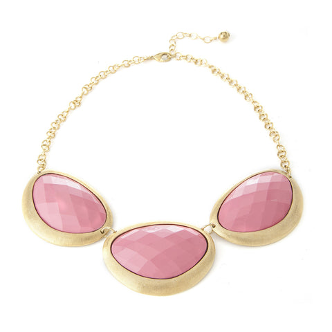 Pink Coral Organic Oval Necklace