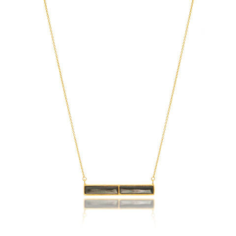 Black Mother of Pearl Bar Necklace