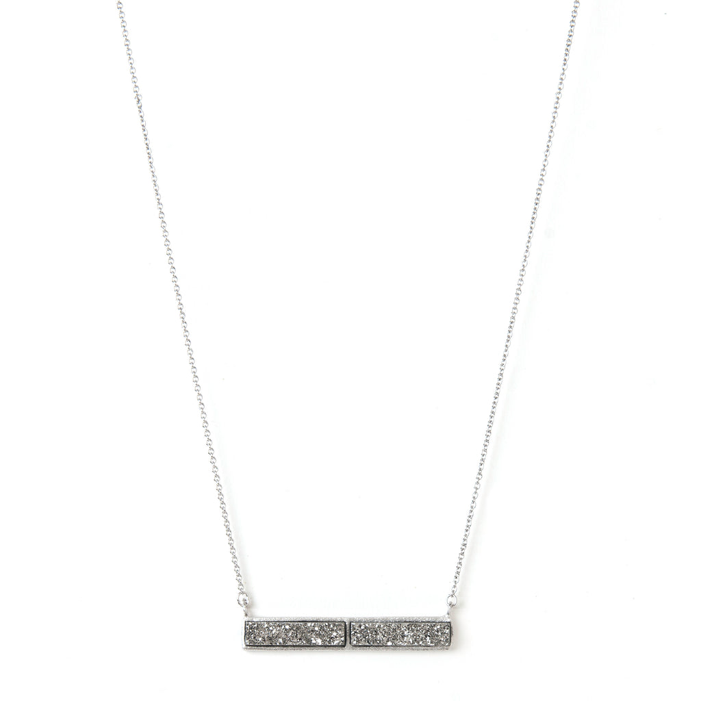 White Rhodium Platinum Druzy Necklace